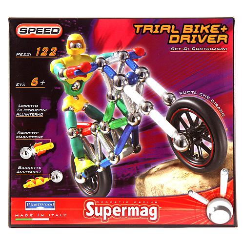 Magnetická stavebnice Supermag Motorka s řidičem, 122 dílků