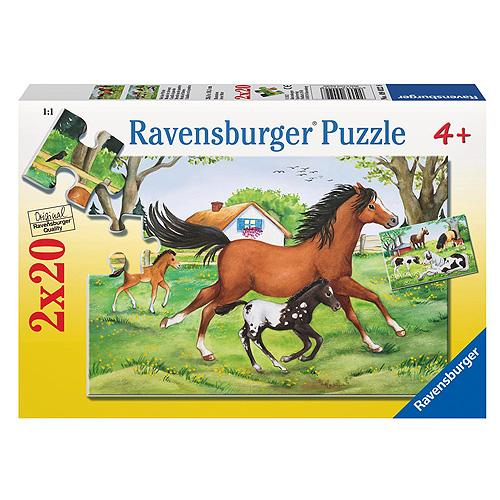 Puzzle Ravensburger Koníci na louce, 2 x 20 dílků