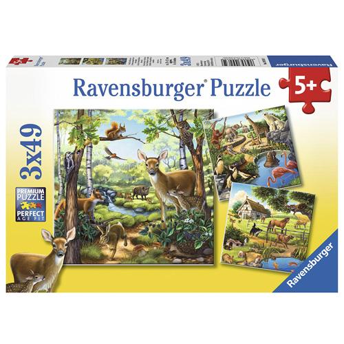 Puzzle Ravensburger Domácí zvířata, 3 x 49 dílků