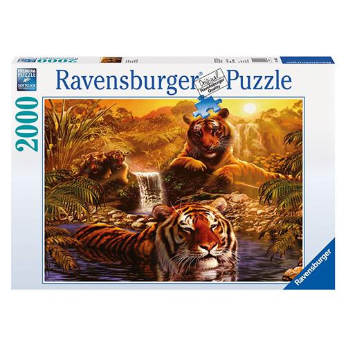Puzzle Ravensburger Tygří koupel, 2000 dílků