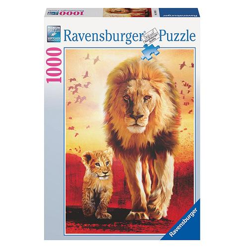Puzzle Ravensburger Lev a mládě, 1000 dílků