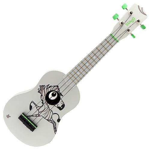 Sopránové ukulele Stagg bílé s motivem zebry