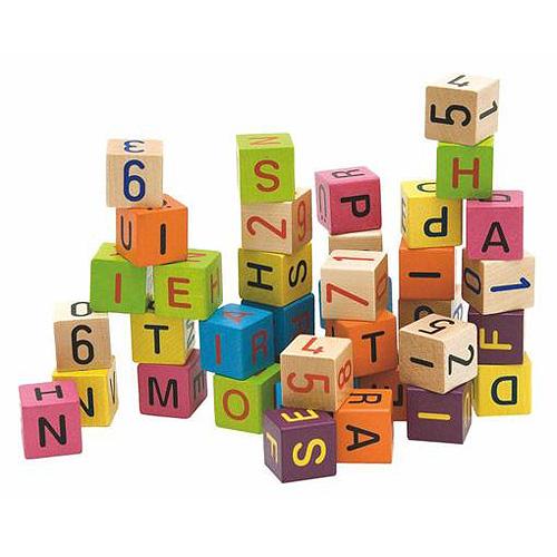 Woody Kostky s písmeny a čísly dřevěné, barevné, 40 dílků