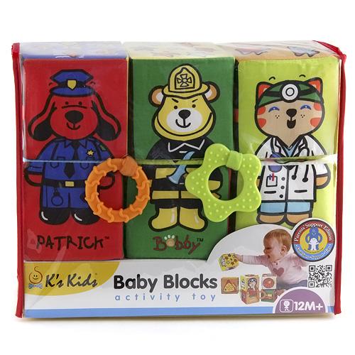 K´s Kids Textilní kostky barevné, 6ks