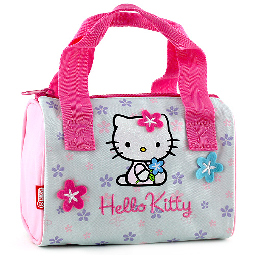 Kabelka Hello Kitty modrá, motiv květin