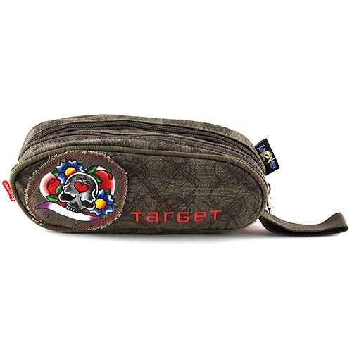 Školní penál Target hnědo-zelený