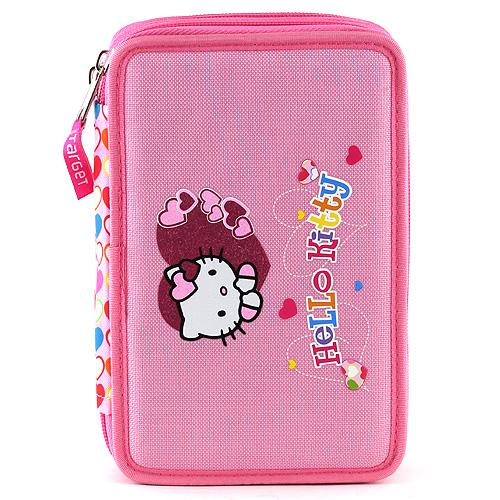 Školní penál s náplní Hello Kitty růžový, motiv srdce