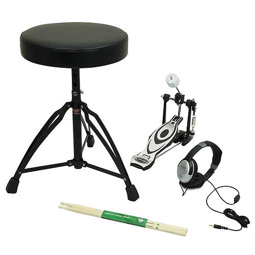 Příslušenství k bicím Stagg obsahuje stoličku, šlapku, paličky, sluchátka