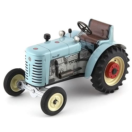Traktor Kovap plechový, světle modrý