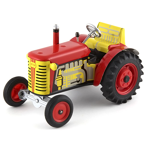 Traktor Kovap plechový s plastovými disky, červený