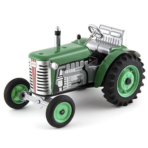 Traktor Kovap plechový s plastovými disky, zelený