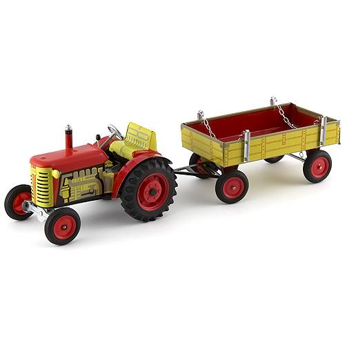 Traktor s valníkem Kovap plechový s plastovými disky, červený
