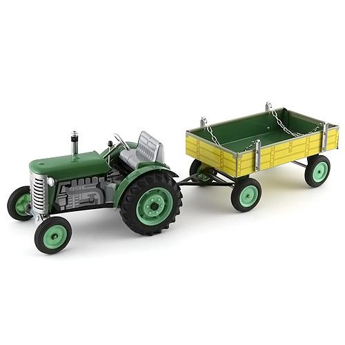 Traktor s valníkem Kovap plechový s plastovými disky, zelený