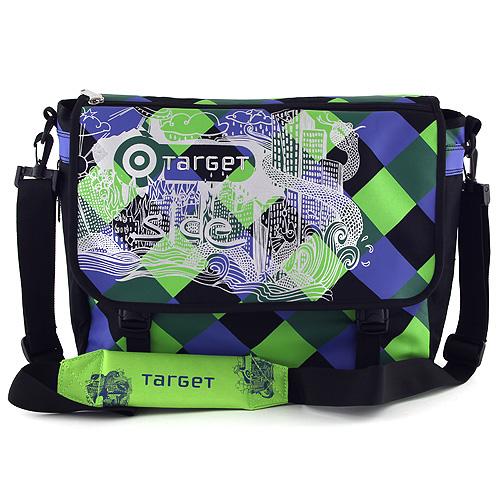 Taška přes rameno Target modro-zelené kostky