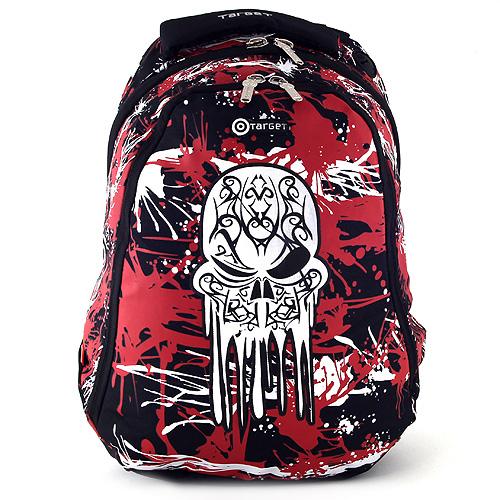Sportovní batoh Target černo-červený, motiv lebky
