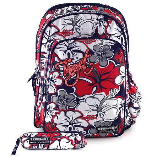 Studentský batoh Target červeno-šedý, motiv květin