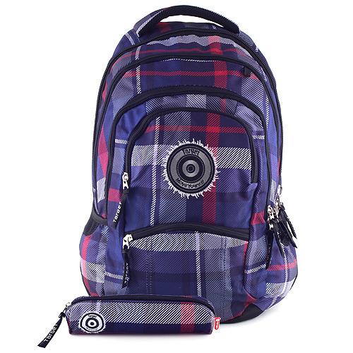 Studentský batoh Target fialovo-modré kostky
