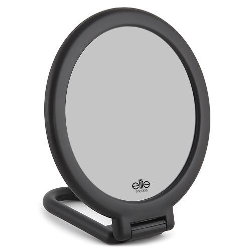 Kosmetické zrcadlo Elite Models s flexibilní rukojetí, 14cm, černé