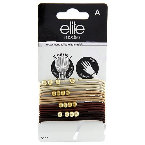 Gumičkové náramky 2v1 Elite Models 16ks, hnědé, průměr 6,5cm