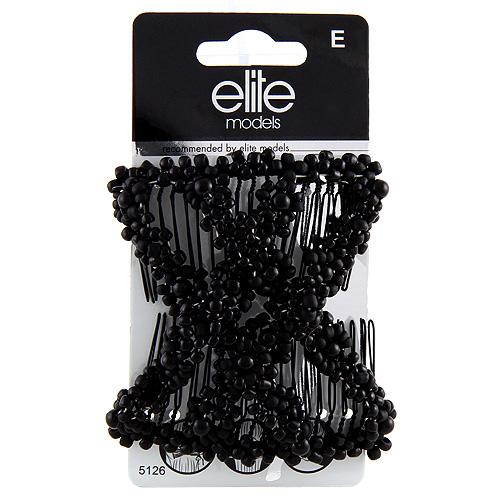 Spona s hřebínky Elite Models černá, 8cm