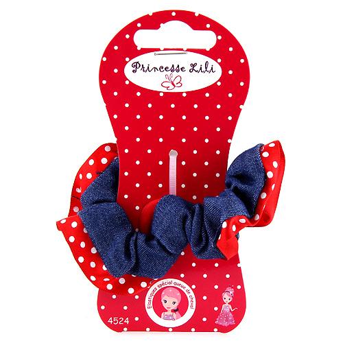 Gumička látková Princesse Lili textilní, červená, průměr 6cm