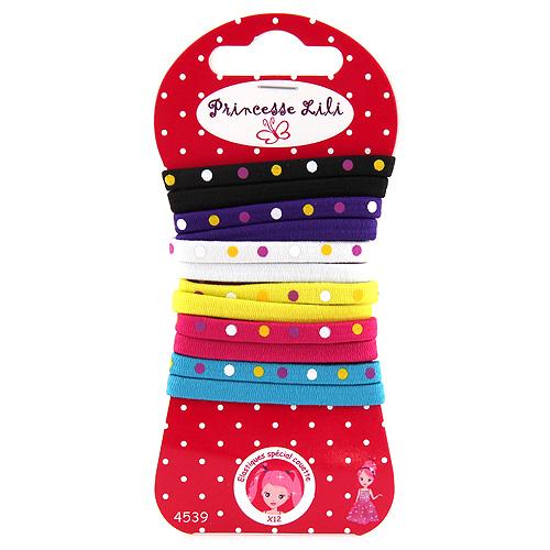 Gumičky ploché Princesse Lili 12ks, barevné s puntíky, průměr 5,5cm