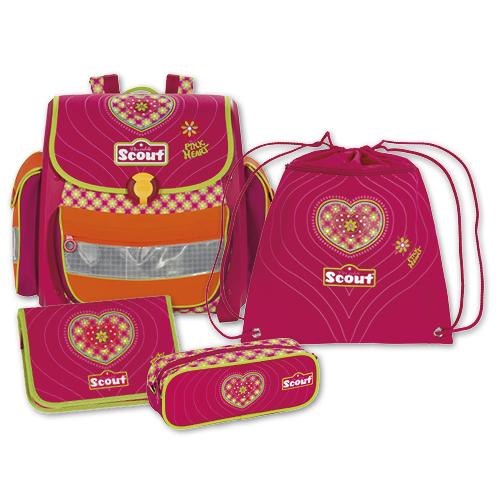 Školní set Scout 4 dílný, motiv srdce, Basic