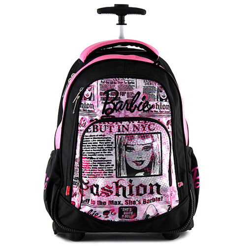 Školní batoh trolley Barbie černo-růžový