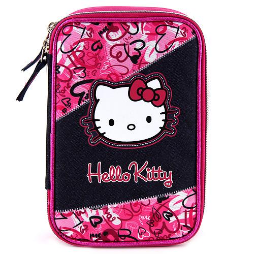 Školní penál s náplní Hello Kitty jednopatrový