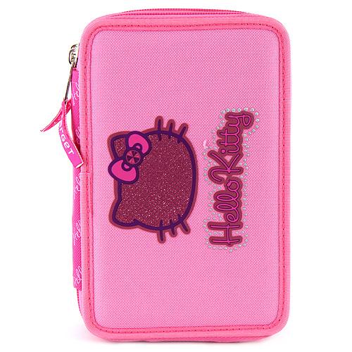 Školní penál s náplní Hello Kitty dvoupatrový, růžový