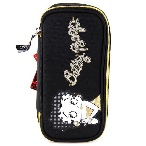 Školní penál Betty Boop elipsovitý, černo-zlatý