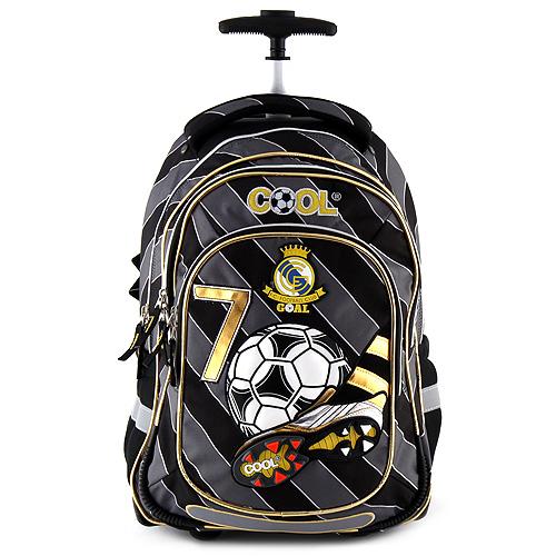 Školní batoh trolley Goal šedo-černý, motiv míče