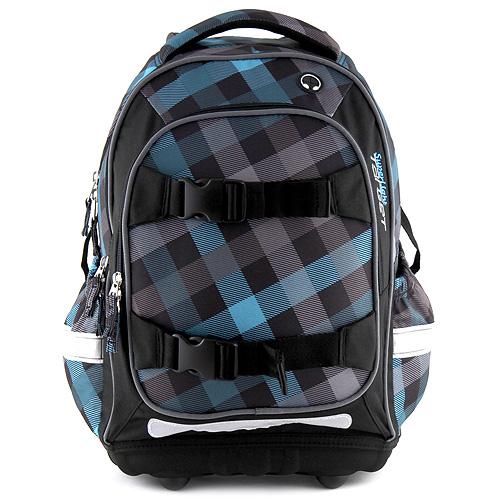 Školní batoh Target modro-černé kostky