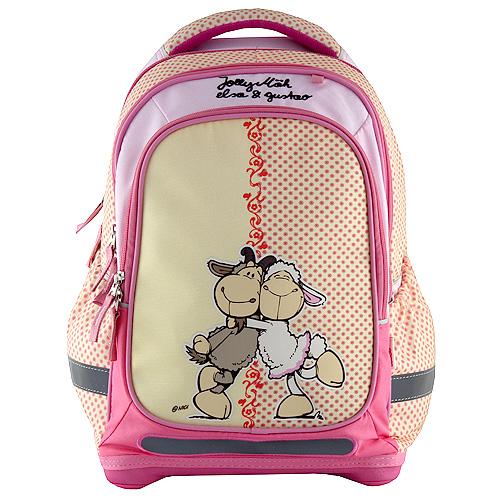 Školní batoh Nici žlutý s růžovými puntíky
