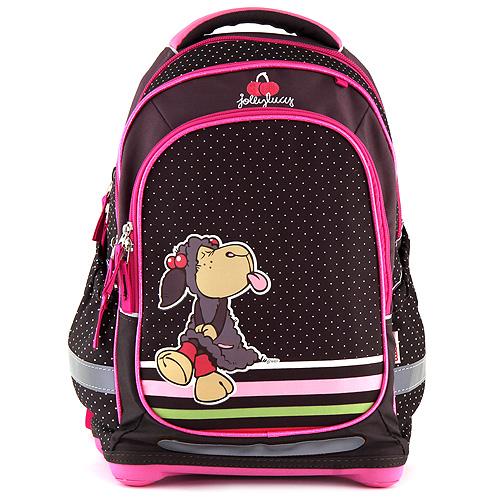 Školní batoh Nici hnědý s puntíky, motiv ovečky