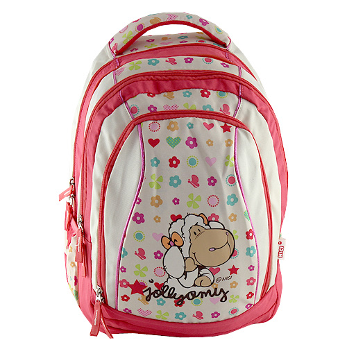 Školní batoh 2v1 Nici 2v1, béžovo-růžový