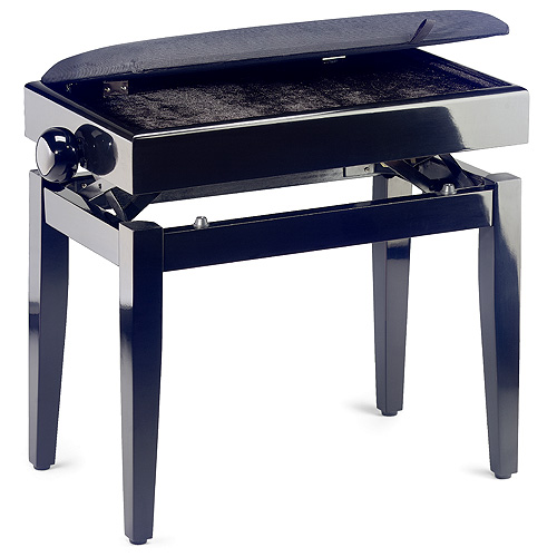 Stolička ke klavíru Stagg s úložným prostorem, černá