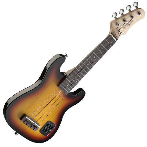 Elektrické ukulele Stagg styl Strat, barva sunburst