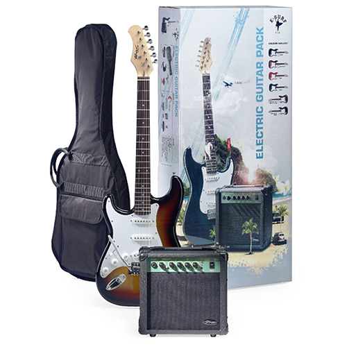 Kytarová sada Stagg kytara typu Strat, kombo 10 GA T, příslušenství