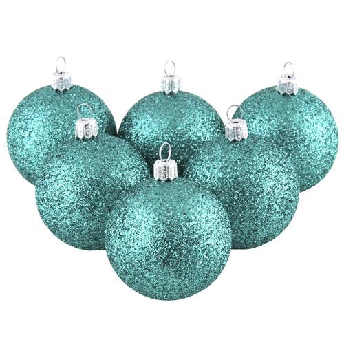 Vánoční ozdoba Europalms Vánoční dekorační ozdoby, 6 cm, tyrkysové se třpytkami, 6 ks