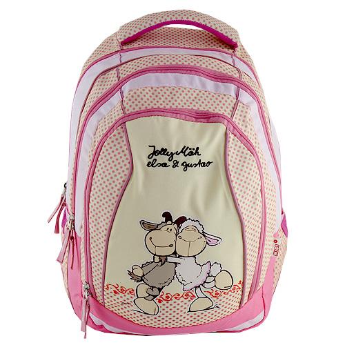 Školní batoh 2v1 Nici žluto-růžová, dvě ovečky