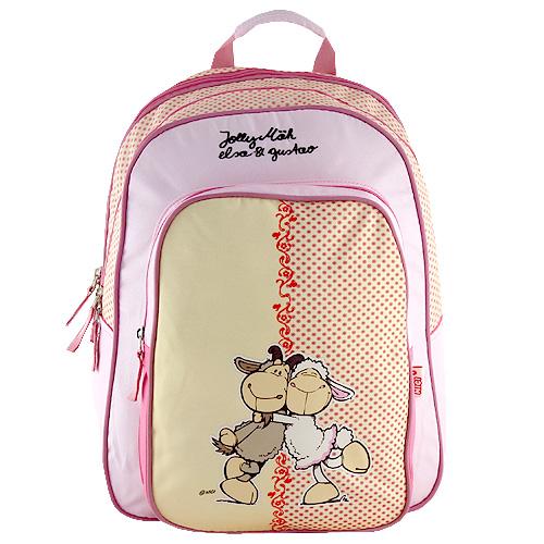Školní batoh Nici žluto-růžová, dvě ovečky