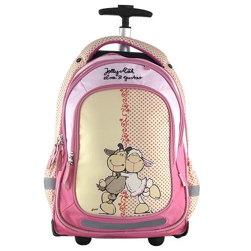 Školní batoh trolley Nici růžovo-žlutý, dvě ovečky