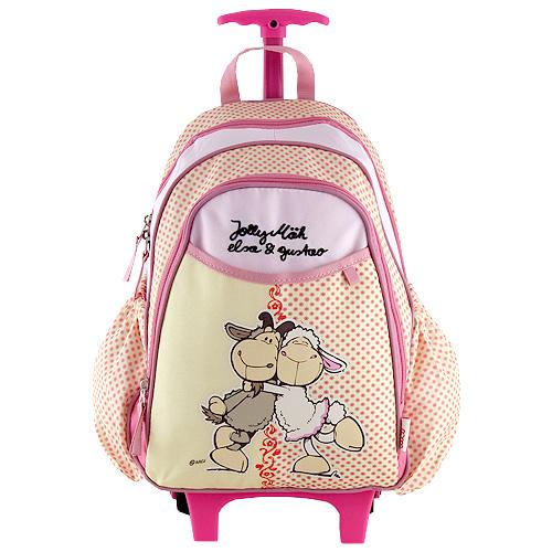 Batoh trolley mini Nici růžovo-žlutý, dvě ovečky