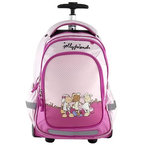 Školní batoh trolley Nici fialovo-ružový, tři ovečky
