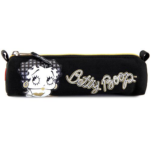 Školní penál Betty Boop oválný, černý se zlatým zipem