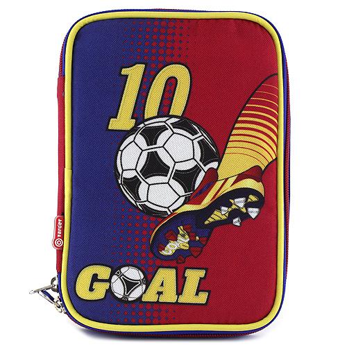 Školní penál s náplní Goal jednopatrový, modro/žlutý