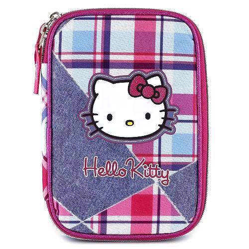Školní penál s náplní Hello Kitty jednopatrový, motiv jeans