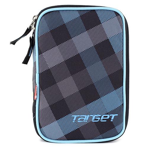 Školní penál s náplní Target jednopatrový, černo/modrý