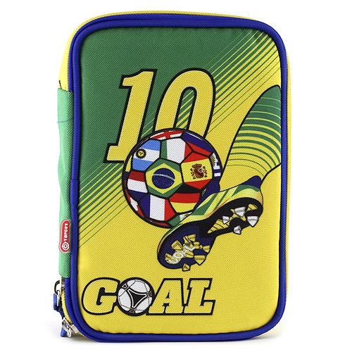 Školní penál s náplní Goal jednopatrový, zeleno/žlutý